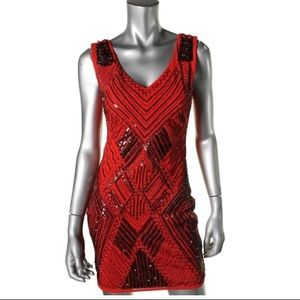 WOW Couture Red Mesh Embellished Sleeveless